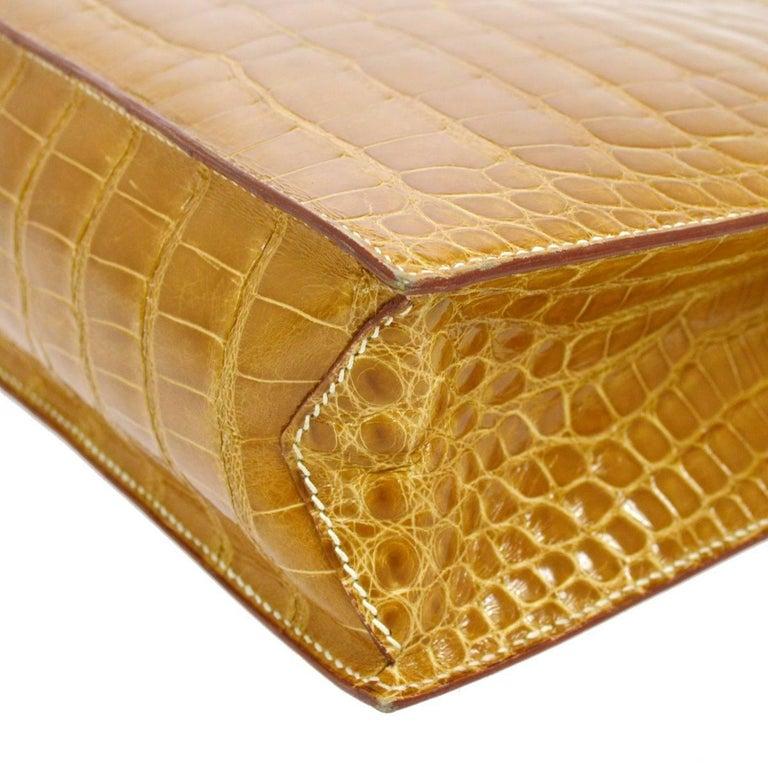 Hermes Cognac Crocodile Evening Shopper Top Handle Satchel Bag   For Sale 1