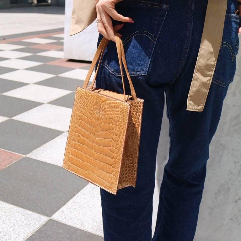 Hermes Cognac Crocodile Evening Shopper Top Handle Satchel Bag W/Dust Bag  Crocodile Leather lining Date code Square A  Made in France  Handle drop 5