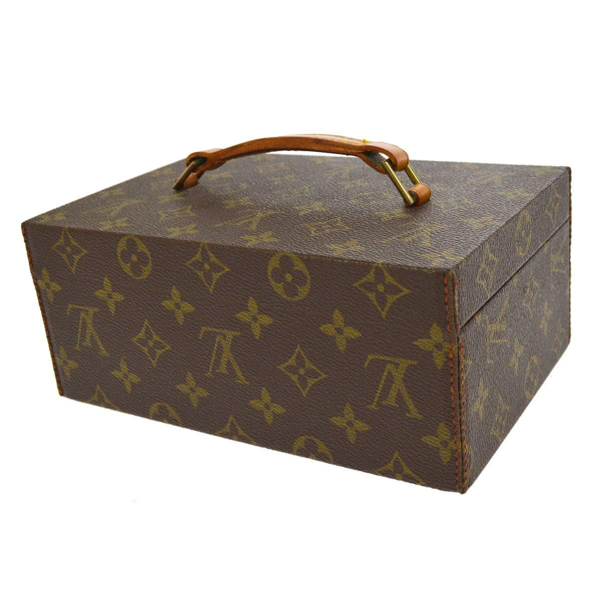 Black Louis Vuitton Monogram Top Handle Menu0027s Jewelry Travel Storage Case  With Keys For Sale