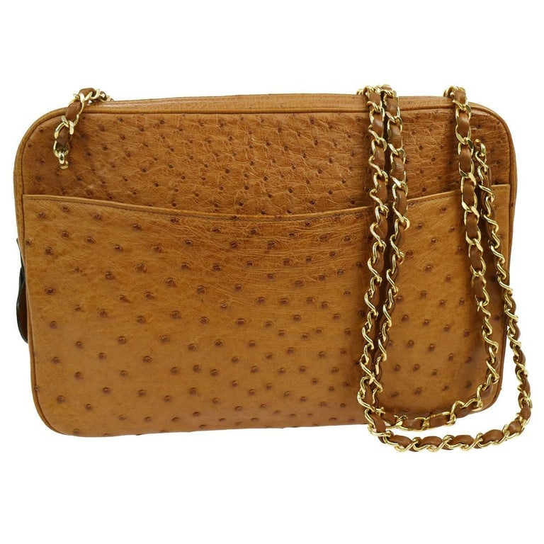 Chanel Cognac Ostrich Evening Charm Camera Shoulder Bag