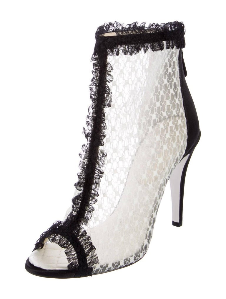 13bf25c049f3e CURATOR'S NOTES Chanel New Black Satin Lace Mesh Evening Ankle Booties Boots  IT 36.5 Satin Lace