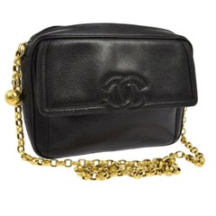 Chanel Black Caviar Leather Gold Chain Link Evening Camera Shoulder Bag