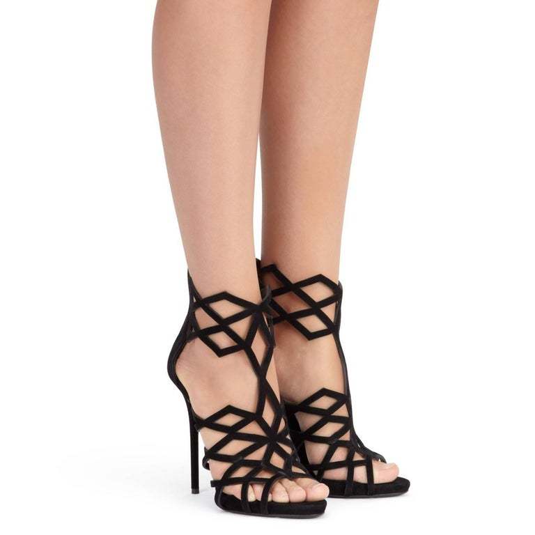 """Giuseppe Zanotti New Black Suede Cut Out Cage Evening Sandals Heels in Box   Size IT 36 - Our only pair! Suede Zipper back closure Made in Italy Heel height 4.75"""" (120mm) Includes original box"""