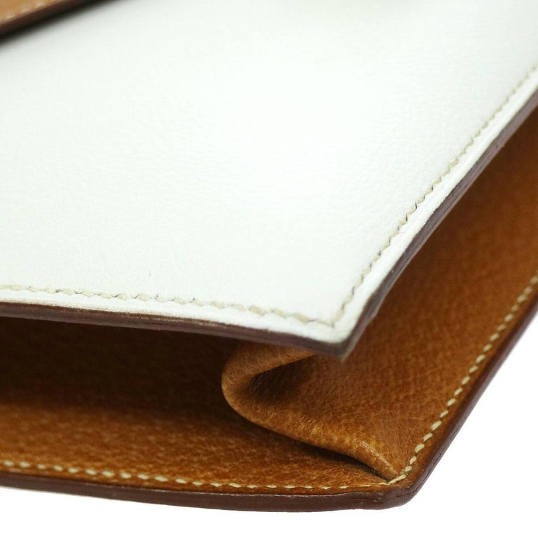 Hermes Cognac Colorblock Leather Envelope Evening Clutch Bag 4