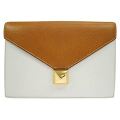 Hermes Cognac Colorblock Leather Envelope Evening Clutch Bag