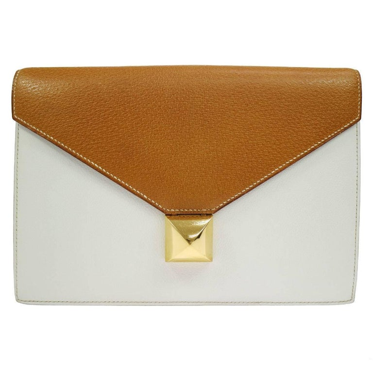 Hermes Cognac Colorblock Leather Envelope Evening Clutch Bag 1