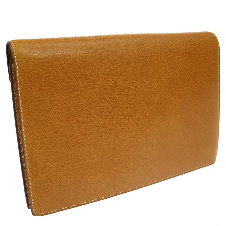 Hermes Cognac Colorblock Leather Envelope Evening Clutch Bag 2