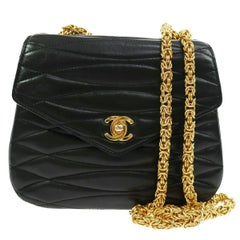 Chanel New Black Leather Party Evening Shoulder Flap Bag in Box