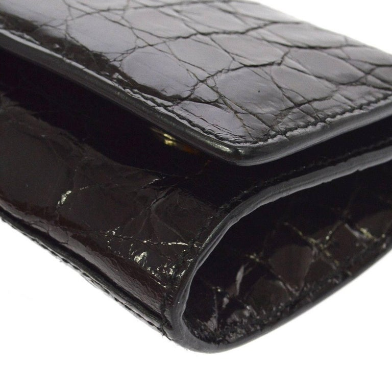 Salvatore Ferragamo Black Crocodile Mink Evening Clutch Bag For Sale 1