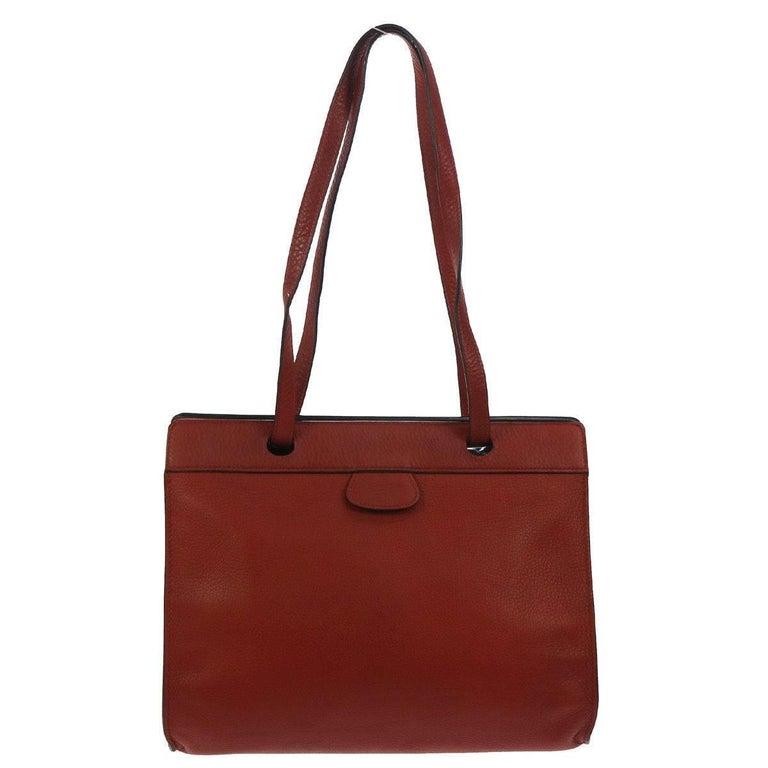 Hermes Rouge Leather Carryall Men's Women's Travel Shopper Tote Shoulder Bag