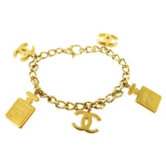 Chanel Vintage No 5 Perfume Charm Chain Evening Bangle Bracelet