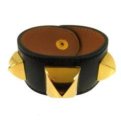 Hermes Black Leather Gold Stud Men's Women's Evening Cuff Bracelet in Box
