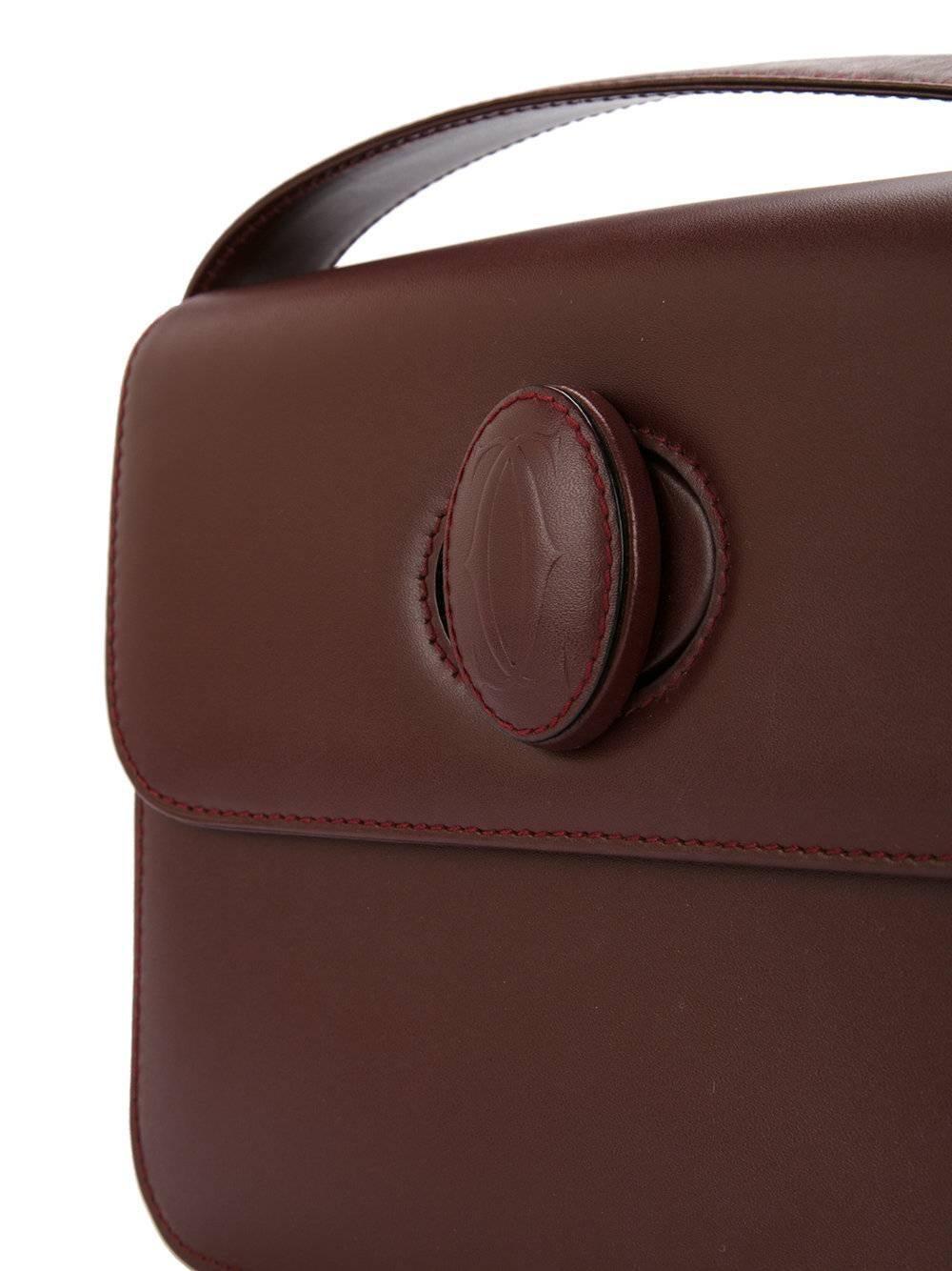 Cartier Bordeaux Leather Twist Lock Shoulder Flap Bag ibR23k