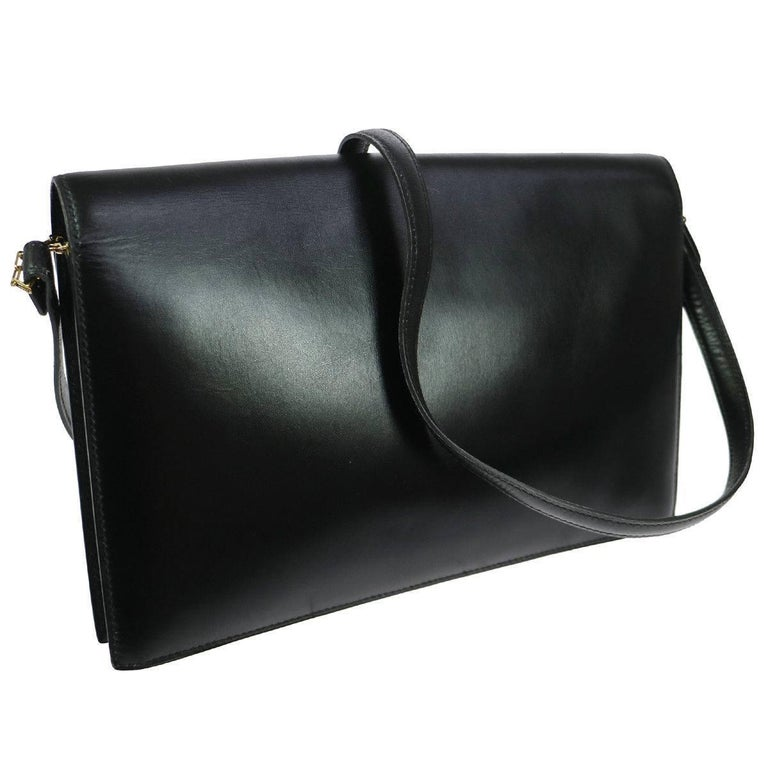 "Hermes Black Leather H Envelope Evening Shoulder Flap Bag  Leather Gold tone hardware Leather lining Date code Circle F Made in France Shoulder strap drop 14"" Measures 10"" W x 6.75"" H x 1.5"" D Includes original Hermes dust bag"