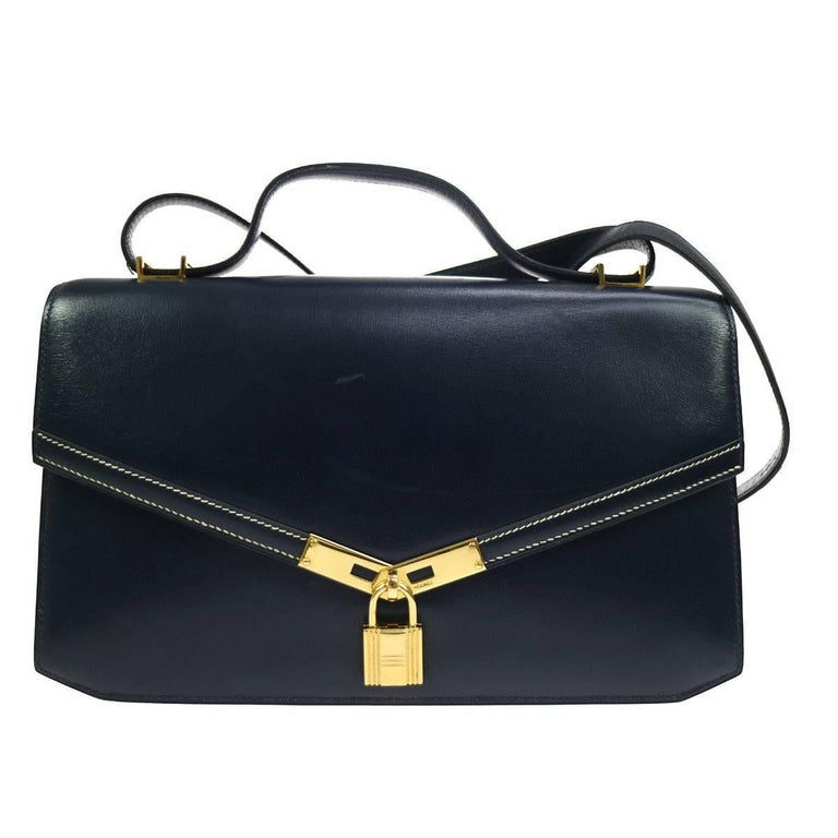 Hermes Blue Leather Gold Cadena Top Handle Shoulder Flap Bag