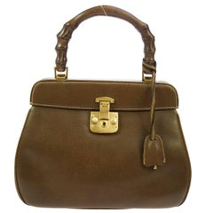 Gucci Cognac Leather Bamboo Top Handle Kelly Shoulder Bag
