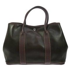 Hermes Brown Top Handle Large Travel Carryall Tote Bag
