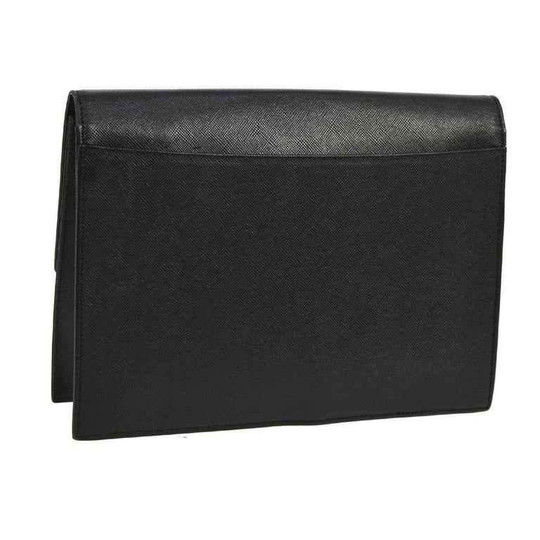 """YSL Black Leather Envelope Evening Flap Clutch Bag  Leather Twill lining Button closure  Measures 9.5"""" W x 6.75"""" H x 2"""" D"""