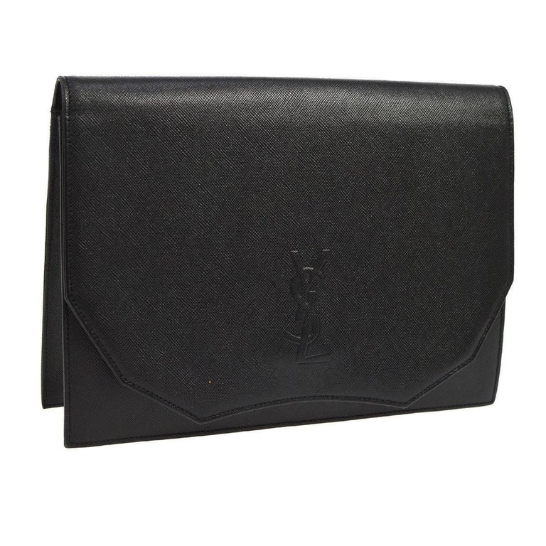 YSL Black Leather Envelope Evening Flap Clutch Bag