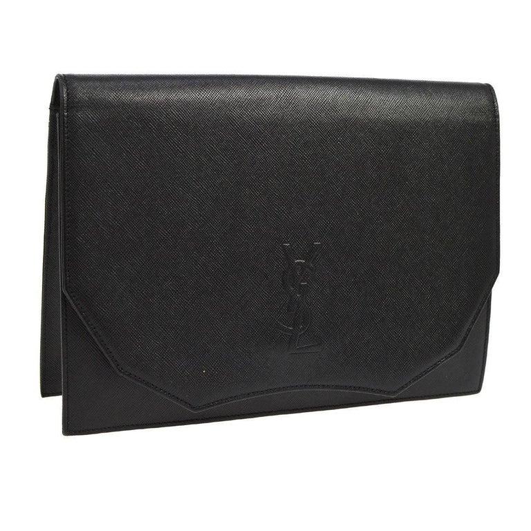 YSL Black Leather Envelope Evening Flap Clutch Bag For Sale