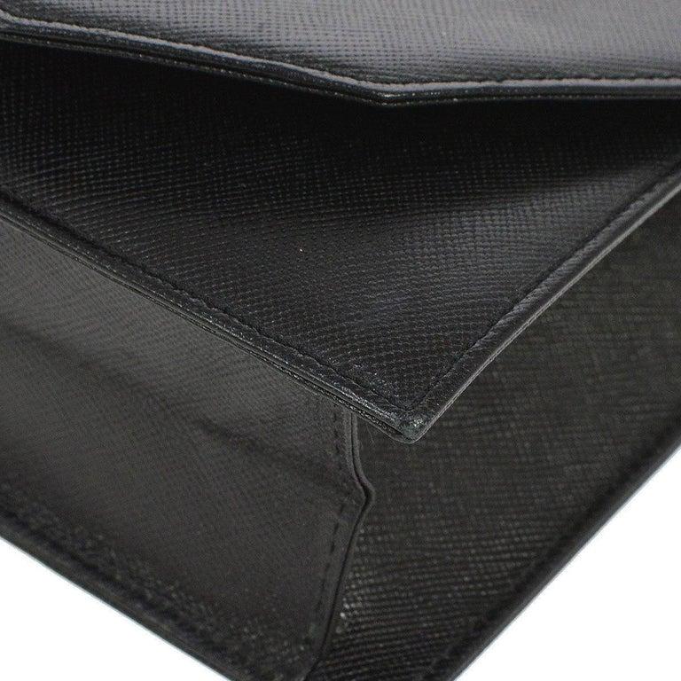 Women's YSL Black Leather Envelope Evening Flap Clutch Bag For Sale