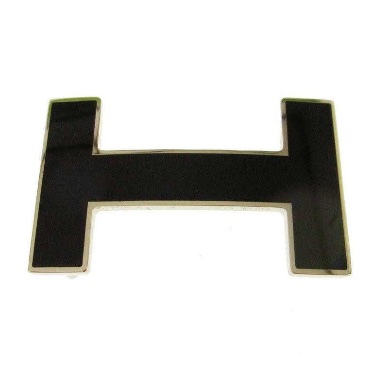 Hermes Black Silver Large H Charm Men's Women's Belt Buckle