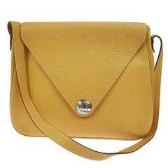 Hermes Mustard Leather Large Travel Carryall Shoulder Bag