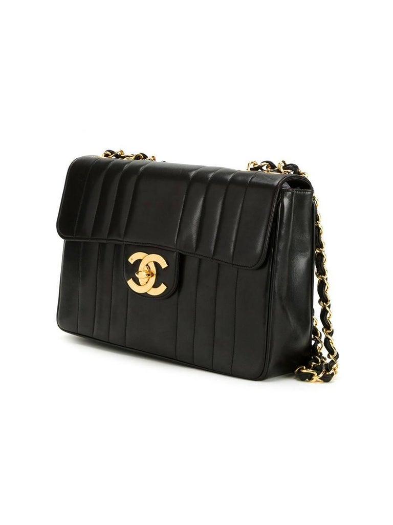 Chanel Black Lambskin GHW Jumbo Stripe Shoulder Flap Bag For Sale 1