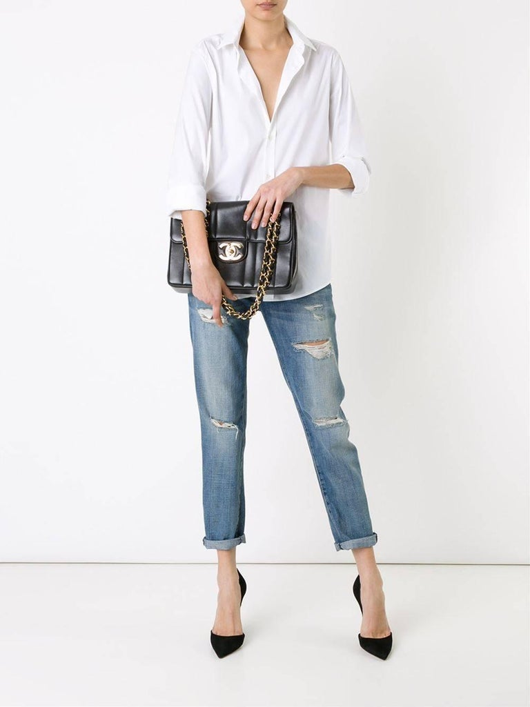 "Chanel Black Lambskin GHW Jumbo Stripe Shoulder Flap Bag  Lambskin Gold tone hardware Leather lining Made in France Single strap drop 12"" Double strap drop 24"" Measures 12"" W x 8.75"" H x 3"" D"