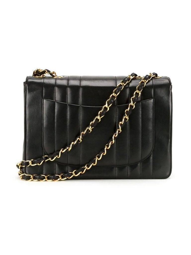 Chanel Black Lambskin GHW Jumbo Stripe Shoulder Flap Bag For Sale 2