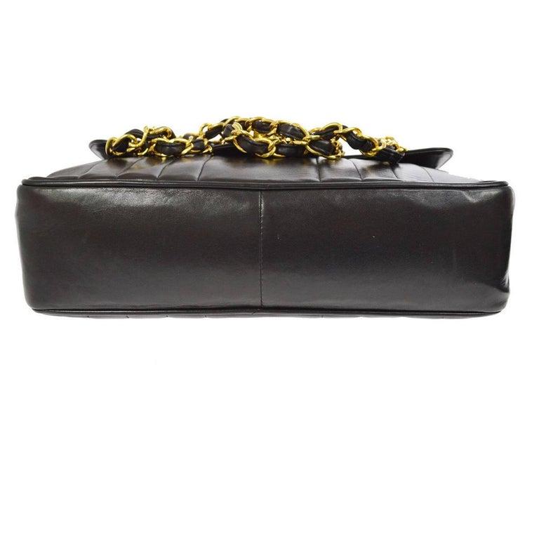 Chanel Black Lambskin GHW Jumbo Stripe Shoulder Flap Bag For Sale 3