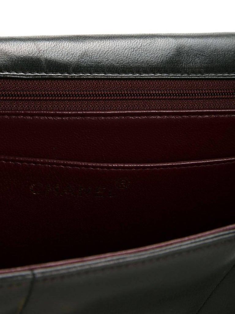 Chanel Black Lambskin GHW Jumbo Stripe Shoulder Flap Bag For Sale 5