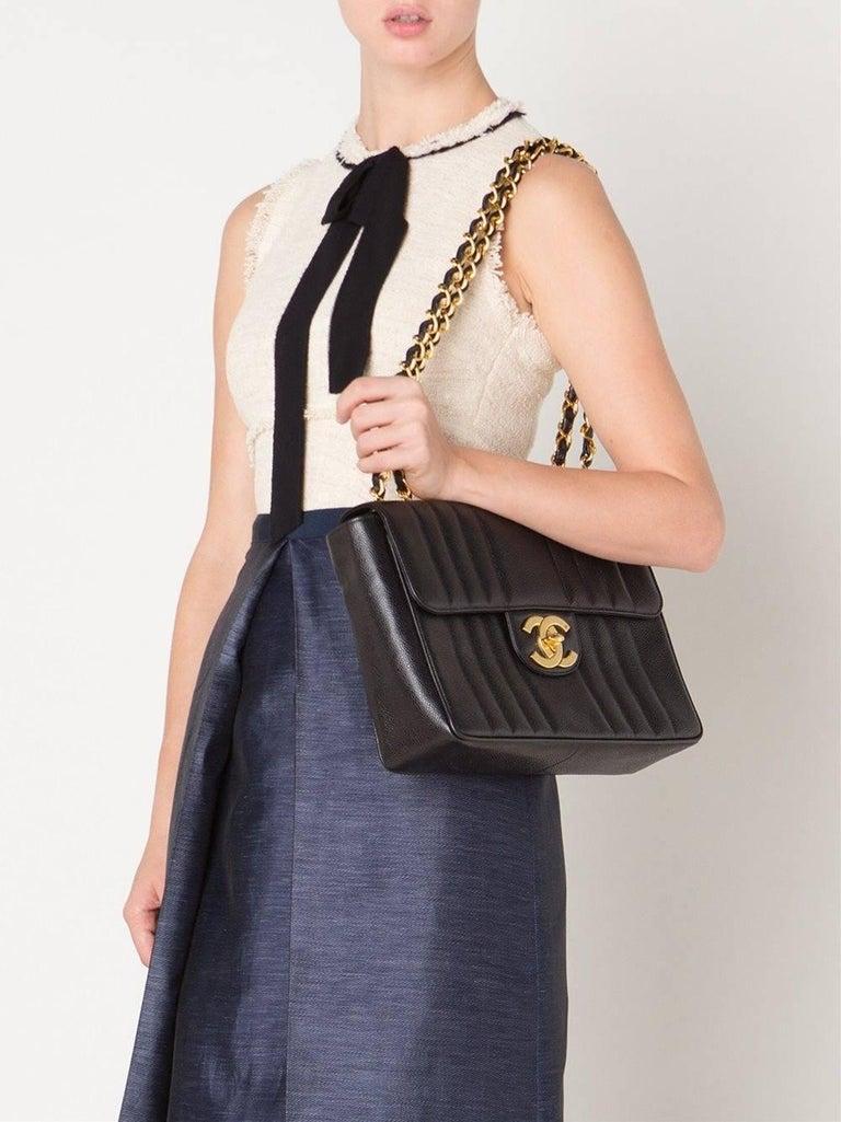 Women's Chanel Black Lambskin GHW Jumbo Stripe Shoulder Flap Bag For Sale