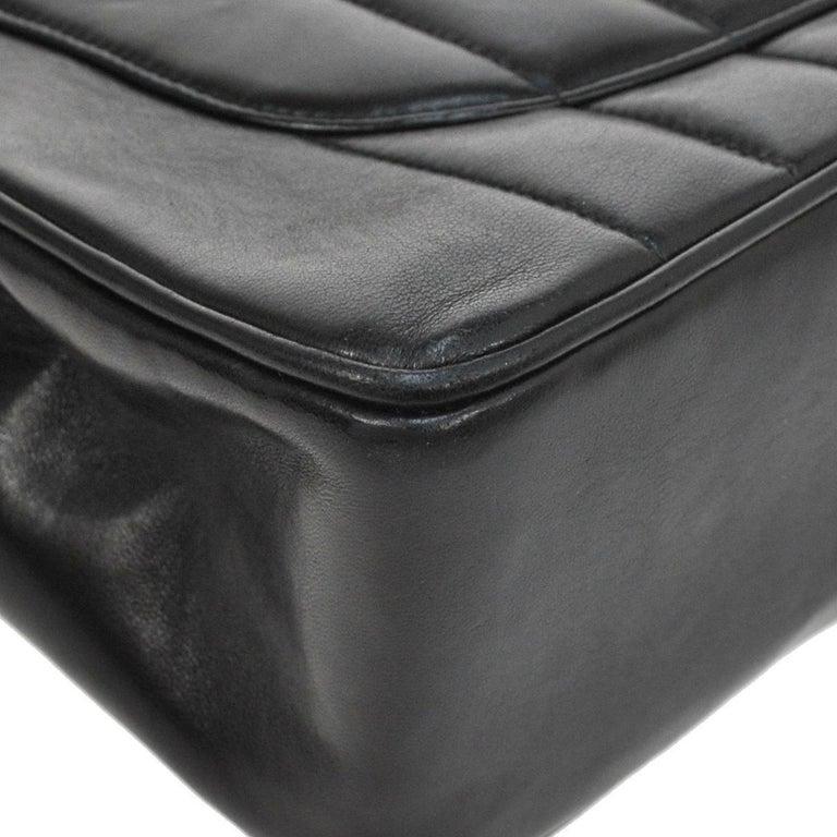 Chanel Black Lambskin GHW Jumbo Stripe Shoulder Flap Bag For Sale 4