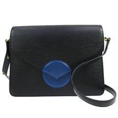 Louis Vuitton Black Leather Blue Turnlock Flap Shoulder Bag