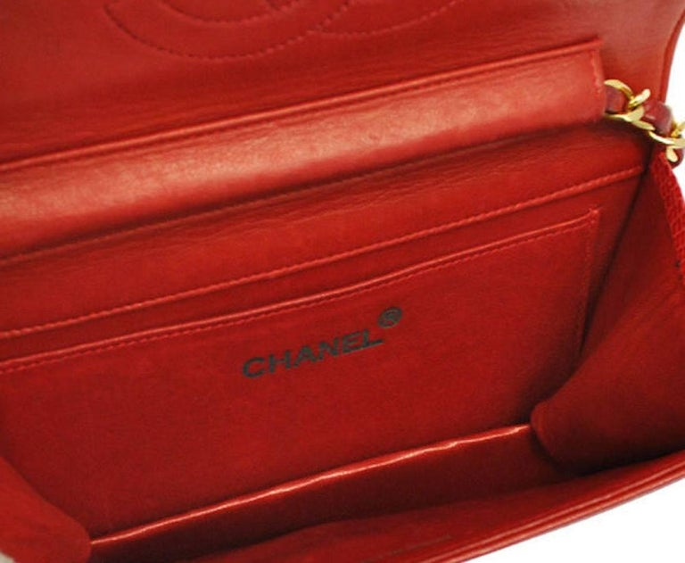 Chanel Red Lizard Gold WOC Clutch Evening Flap Shoulder Bag For Sale 2