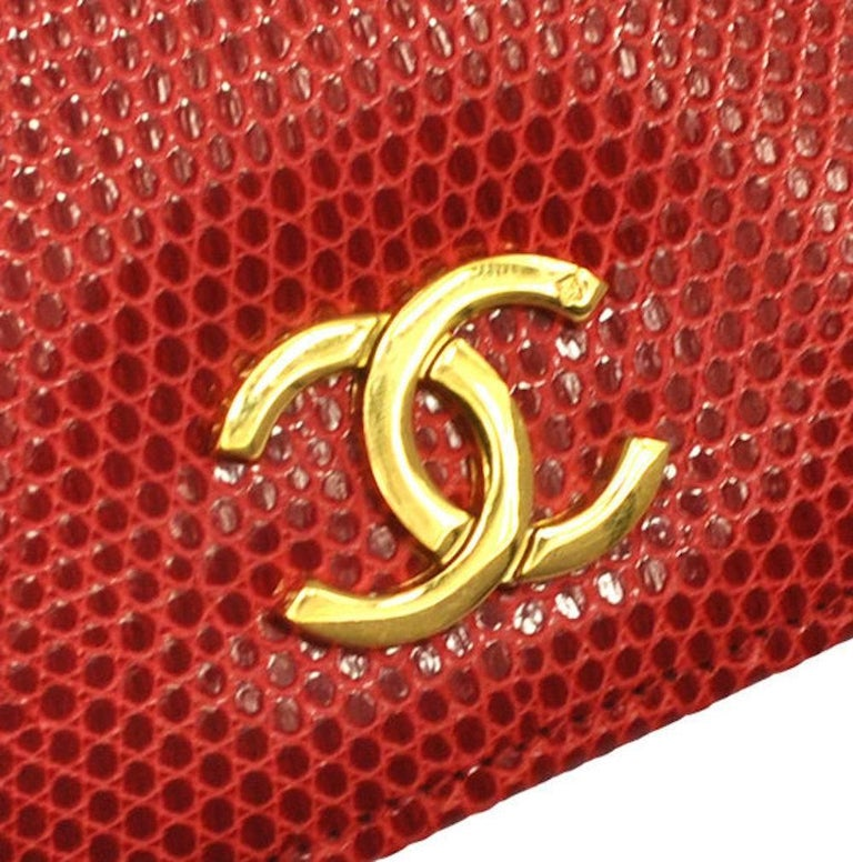 Chanel Red Lizard Gold WOC Clutch Evening Flap Shoulder Bag For Sale 1