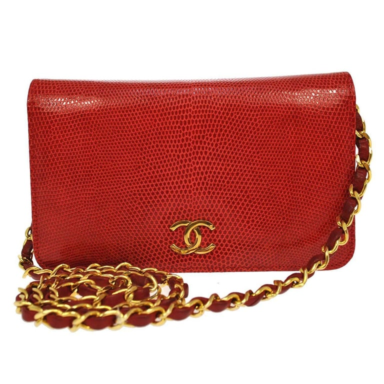 Chanel Red Lizard Gold WOC Clutch Evening Flap Shoulder Bag