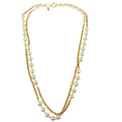 Chanel Chain Link Pearl Long Drop Drape Evening Necklace