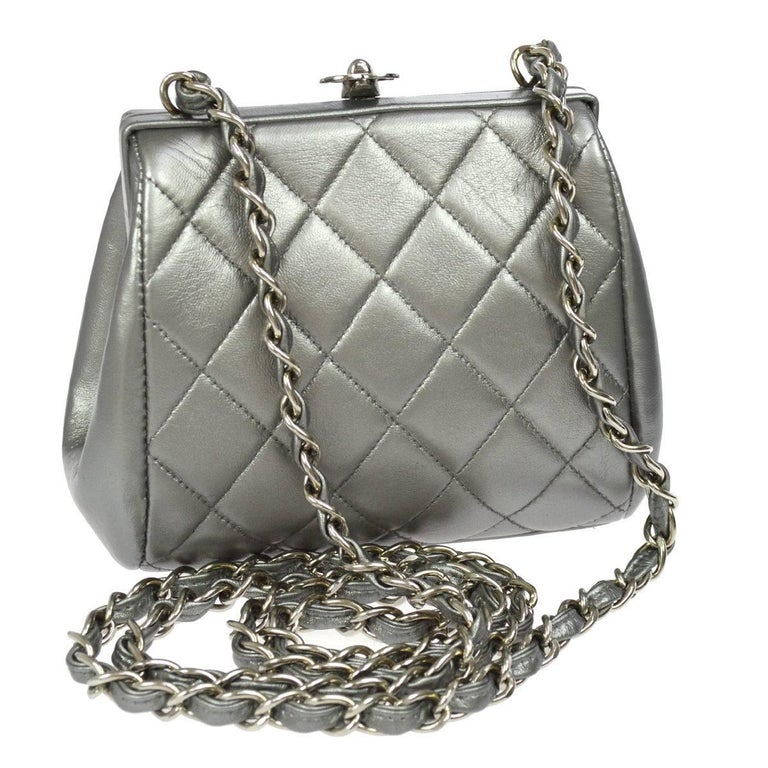 Chanel Silver Leather Party Kisslock Evening Flap Shoulder Bag For Sale