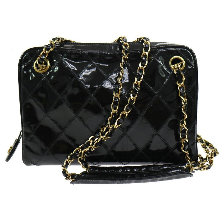 Chanel Black Patent Gold Small Camera Shoulder Bag In Box For