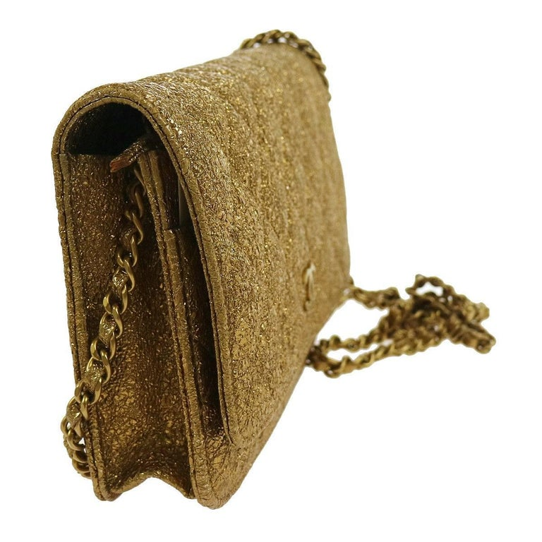 Brown Chanel Gold Lame WOC Evening Clutch Shoulder Flap Bag With Box For Sale
