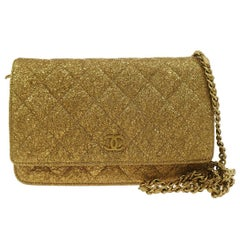 Chanel Gold Lame WOC Evening Clutch Shoulder Flap Bag With Box