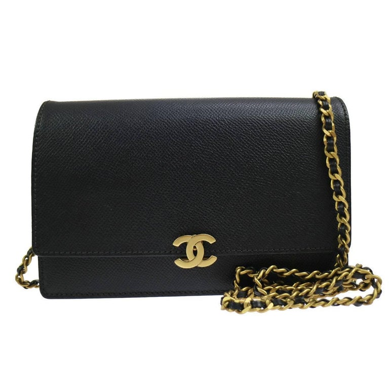 Chanel New Black Caviar  2 in 1 Clutch WOC Flap Crossbody Shoulder Bag in Box