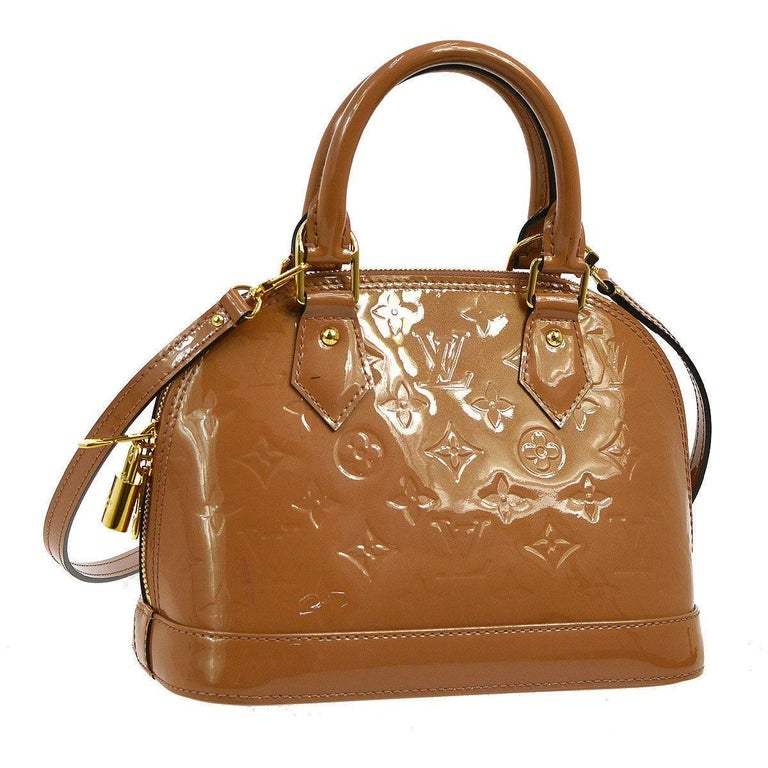 Louis Vuitton Cognac Patent Top Handle Satchel Shoulder Bag With All Accessories