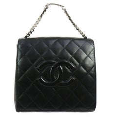 Chanel Black Lambskin Silver Chain Top Handle Satchel Evening Flap Shoulder Bag