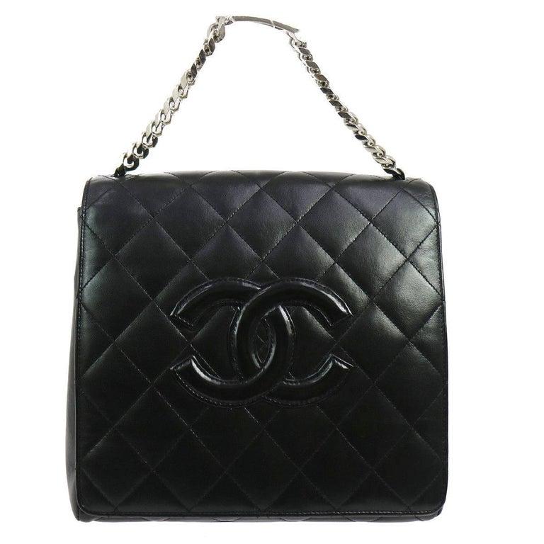 57de1621550a Chanel Black Lambskin Silver Chain Top Handle Satchel Evening Flap Shoulder  Bag For Sale at 1stdibs