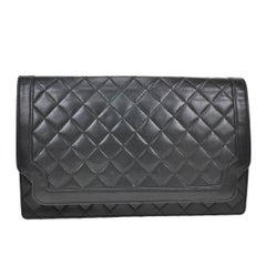 Chanel Black Leather Ribbed Evening Clutch Flap Bag