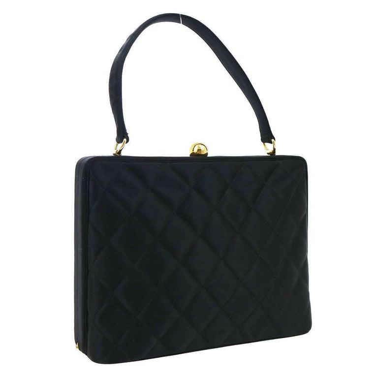 7da23b8392af Chanel Black Satin Gold Kisslock Evening Top Handle Satchel Bag For Sale