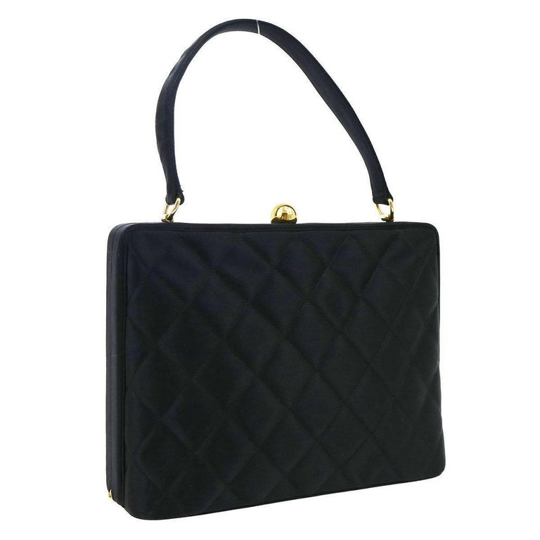 Chanel Black Satin Gold Kisslock Evening Top Handle Satchel Bag For Sale 9b2262a4ca95b